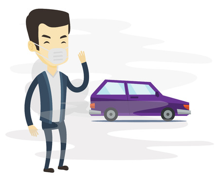 hydrocarbon: Man standing on the background of car with traffic fumes. Man wearing mask to reduce the effect of traffic pollution. Air pollution concept Vector flat design illustration isolated on white background