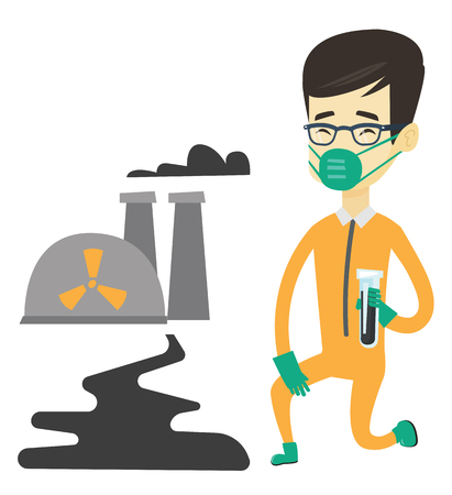 biohazard: Asian scientist in gas mask and radiation protective suit holding a test-tube with black liquid on the background of nuclear power plant. Vector flat design illustration isolated on white background. Illustration