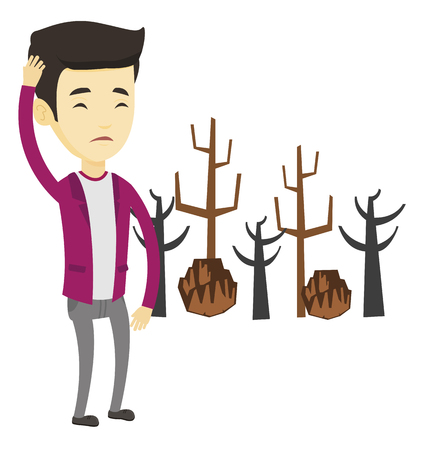 Illustration of asian man standing on the background dead forest caused by global warming or wildfire. Environmental destruction concept. Vector flat design illustration isolated on white background.
