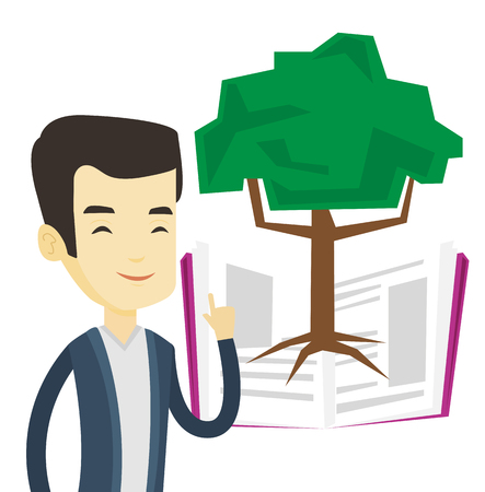 Happy asian student standing on the background of tree growing from open book. Student pointing at tree of knowledge. Concept of education. Vector flat design illustration isolated on white background