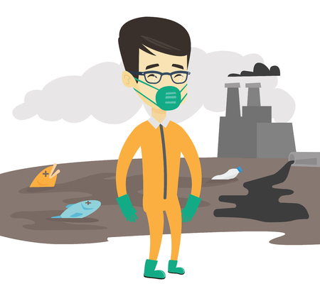 Man in mask and radiation protective suit standing on the background of nuclear power plant. Scientist wearing radiation protection suit. Vector flat design illustration isolated on white background.