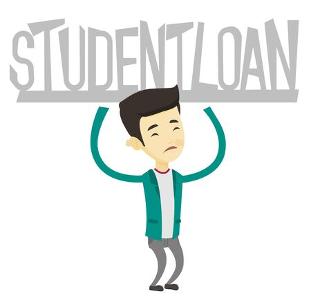 Asian sad man holding a heavy sign of student loan. Young man carrying heavy sign - student loan. Concept of the high cost of student loan. Vector flat design illustration isolated on white background