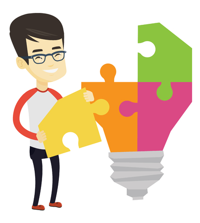 Young excited asian student takes apart idea light bulb made of puzzle. Student standing near the idea bulb. Student having a great idea. Vector flat design illustration isolated on white background.