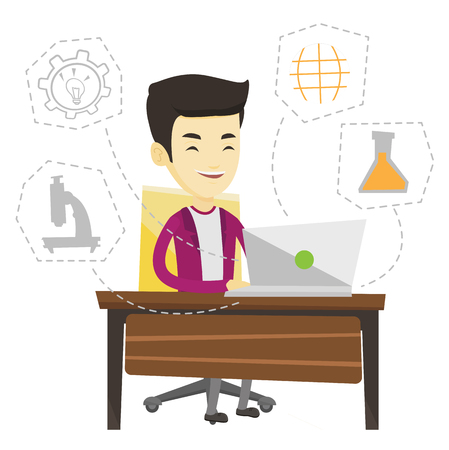 Student sitting at the table with laptop. Man working on laptop connected with icons of school sciences. Educational technology concept. Vector flat design illustration isolated on white background.