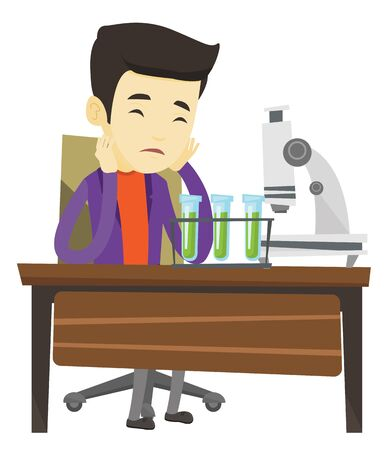 Asian student clutching head after failed experiment in chemistry class. Disappointed student carrying out experiment in chemistry class. Vector flat design illustration isolated on white background.