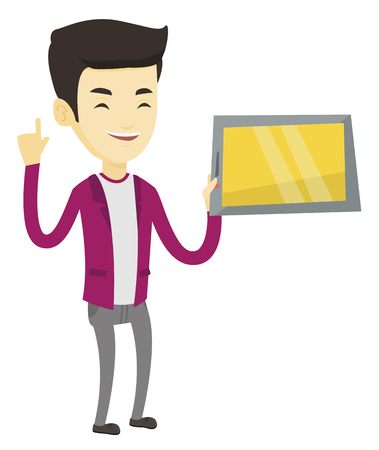 Student holding tablet computer and pointing forefinger up. Student using tablet computer for education. Concept of educational technology. Vector flat design illustration isolated on white background