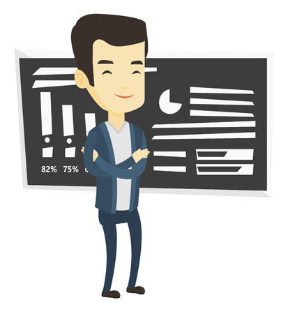 Young asian teacher standing in classroom. Smiling teacher standing in front of chalkboard. Friendly teacher standing with folded arms. Vector flat design illustration isolated on white background.