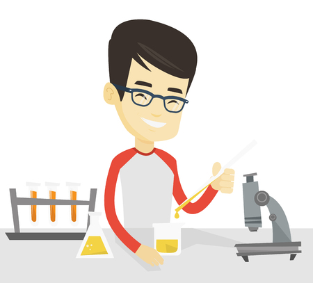 Asian student carrying out laboratory experiment. Student working with microscope at laboratory class. Student experimenting in laboratory. Vector flat design illustration isolated on white background
