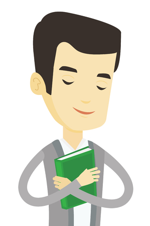 likes: Asian student hugging book. Happy joyful student likes read books. Peaceful student with closed eyes holding a book. Concept of education. Vector flat design illustration isolated on white background.