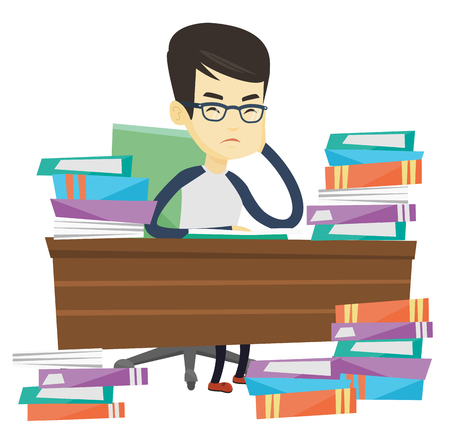 Asian annoyed student studying hard before the exam. Young angry student studying with textbooks. Bored student studying in the library. Vector flat design illustration isolated on white background. Illustration