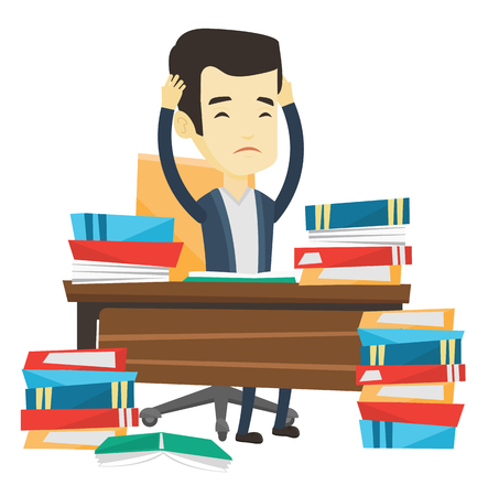 before: Asian concerned student studying hard before exam. Stressed student studying with textbooks. Desperate student studying in the library. Vector flat design illustration isolated on white background.