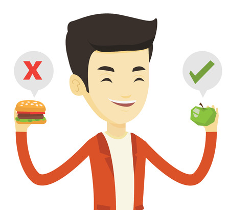 Man holding apple and hamburger in hands. Man choosing between apple and hamburger. Man choosing between healthy and unhealthy nutrition. Vector flat design illustration isolated on white background.