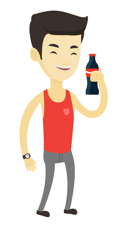 Asian man holding soda beverage in glass bottle. Young man standing with bottle of soda. Cheerful man drinking brown soda from bottle. Vector flat design illustration isolated on white background.