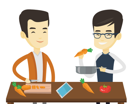 Asian happy men cooking healthy vegetable meal. Friends having fun cooking together healthy meal. Young friends preparing vegetable meal. Vector flat design illustration isolated on white background.