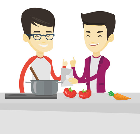 Asian men following recipe for healthy vegetable dish on digital tablet. Friends cooking healthy dish. Friends having fun cooking together. Vector flat design illustration isolated on white background Vectores