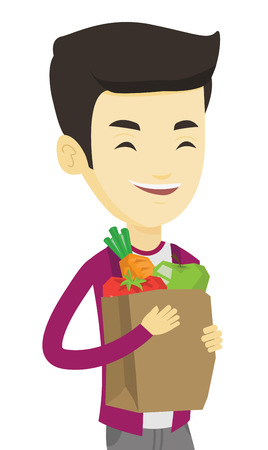 Asian man carrying grocery shopping bag with vegetables. Man holding grocery shopping bag with healthy food. Man with grocery shopping bag. Vector flat design illustration isolated on white background Illustration