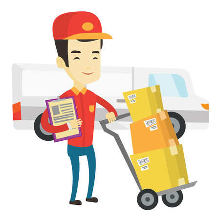 troley: Asian delivery courier with cardboard boxes on troley. Young delivery courier holding clipboard. Courier standing in front of delivery van. Vector flat design illustration isolated on white background