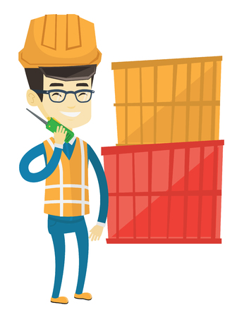 Asian port worker talking on wireless radio. Port worker standing on cargo containers background. Smiling port worker using wireless radio. Vector flat design illustration isolated on white background