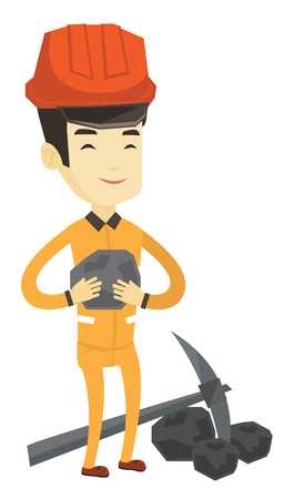 Asian miner in hard hat holding coal in hands. Young smiling miner with a pickaxe. Miner working at coal mine. Young happy miner at work. Vector flat design illustration isolated on white background.