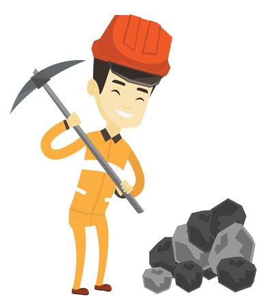 Aziatische mannelijke mijnwerker in bouwvakker die met een pikhouweel werken. Mannelijke mijnwerker in helm en werkkleding die bij de kolenmijn werken. Jonge mannelijke mijnwerker op het werk. Vector platte ontwerp illustratie op een witte achtergrond.
