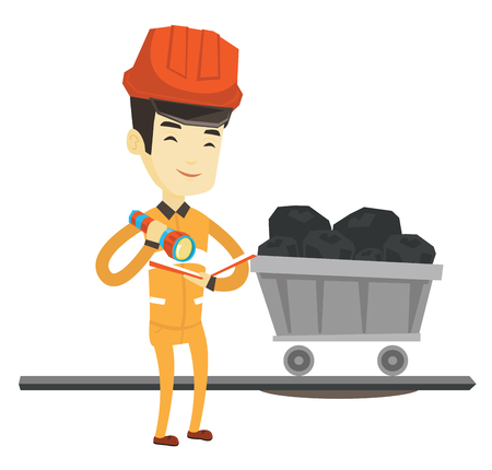 Asian miner in hard hat checking documents with the flashlight on the background of trolley with coal. Miner working in the coal mine. Vector flat design illustration isolated on white background.