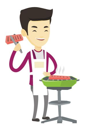 prepare: Asian man cooking steak on the barbecue grill outdoor. Young man preparing steak on the barbecue grill. Happy man having outdoor barbecue. Vector flat design illustration isolated on white background. Illustration