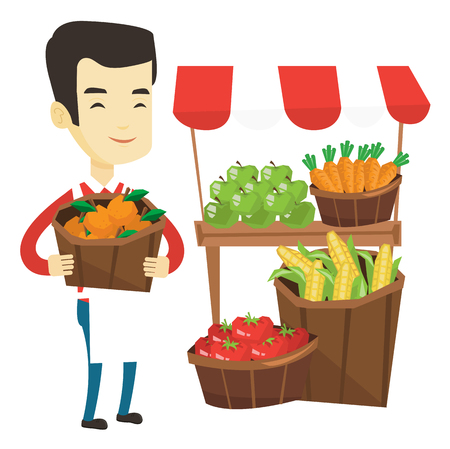 greengrocer: Greengrocer standing near stall with fruits and vegetables. Greengrocer standing near market stall. Greengrocer holding basket with fruits. Vector flat design illustration isolated on white background