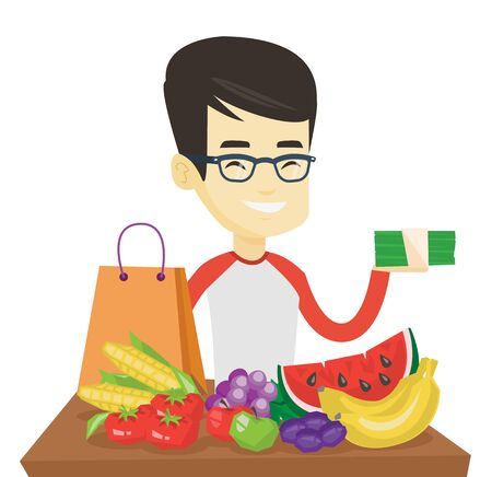 Asian shopper standing at the table with grocery purchases. Young shopper holding money in hand in front of table with grocery purchases. Vector flat design illustration isolated on white background.