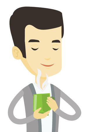 Asian man drinking hot flavored coffee. Young smiling man holding cup of coffee with steam. Man with closed eyes enjoying fresh coffee. Vector flat design illustration isolated on white background.