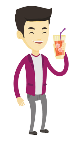 Asian smiling man holding cocktail glass with drinking straw. Joyful man drinking a cocktail. Young happy man celebrating with a cocktail. Vector flat design illustration isolated on white background.