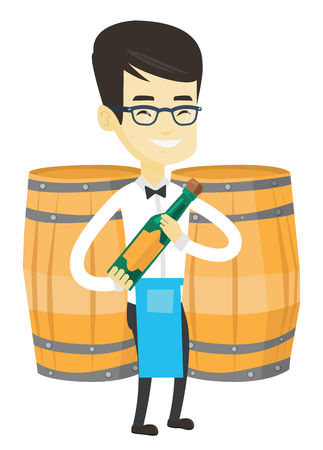 Asian waiter holding a bottle of wine. Young waiter standing on the background of wine barrels. Smiling waiter presenting a wine bottle. Vector flat design illustration isolated on white background.