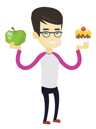 Asian man holding apple and cupcake. Man choosing between apple and cupcake. Concept of choice between healthy and unhealthy nutrition. Vector flat design illustration isolated on white background.