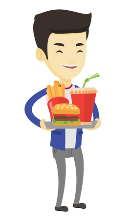 Asian man holding tray with fast food. Man having lunch in a fast food restaurant. Young man with fast food. Unhealthy nutrition concept. Vector flat design illustration isolated on white background. Illustration