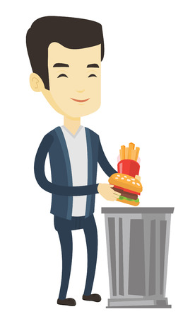 Asian man putting junk food into a trash bin. Man refusing to eat junk food. Man rejecting junk food. Man throwing junk food. Diet concept. Vector flat design illustration isolated on white background