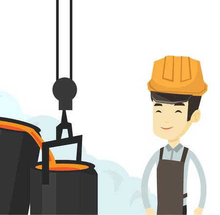 Asian steelworker at work in the foundry. Steelworker controlling iron smelting in the foundry. Industrial worker in steel making plant. Vector flat design illustration isolated on white background. Иллюстрация