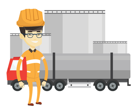 oil and gas industry: Asian worker of oil and gas industry. Refinery worker standing on the background of fuel truck. Young man working at oil refinery plant. Vector flat design illustration isolated on white background.