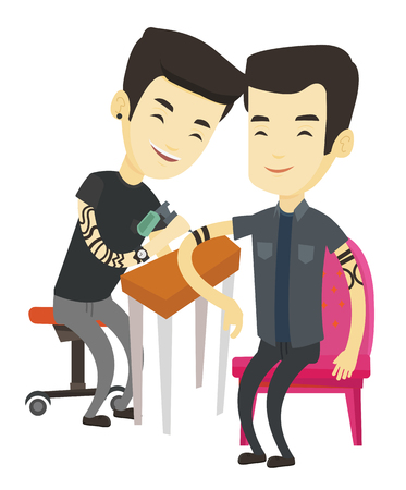 Asian master tattoo artist makes tattoo on the hand of young man. Tattooist makes a tattoo to a client. Professional tattoo artist at work. Vector flat design illustration isolated on white background Ilustração