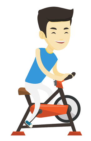 Asian man riding stationary bicycle in the gym. Man exercising on stationary training bicycle. Young man training on exercise bicycle. Vector flat design illustration isolated on white background.