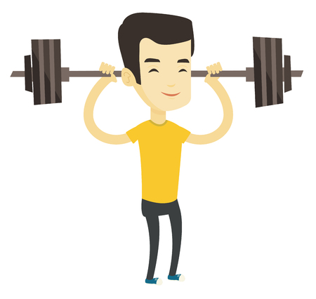 Asian sporty man lifting a heavy weight barbell. Strong weightlifter doing exercise with barbell. Young weightlifter holding a barbell. Vector flat design illustration isolated on white background.