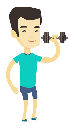 Asian strong weightlifter doing exercise with dumbbell. Young sporty man lifting a heavy weight dumbbell. Weightlifter holding dumbbell. Vector flat design illustration isolated on white background. Illustration