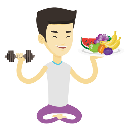 Asian man holding healthy fruits and dumbbell. Man with fruits and dumbbell. Man choosing healthy lifestyle. Healthy lifestyle concept. Vector flat design illustration isolated on white background. Illustration