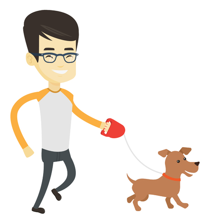 Asian young man with his dog. Cheerful man walking with small dog. Happy man taking dog on a walk. Smiling man walking a dog on a leash. Vector flat design illustration isolated on white background.