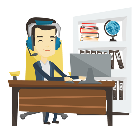 Young asian office worker in headset using computer. Happy office worker in headset working on a computer. Office worker wearing headset. Vector flat design illustration isolated on white background.