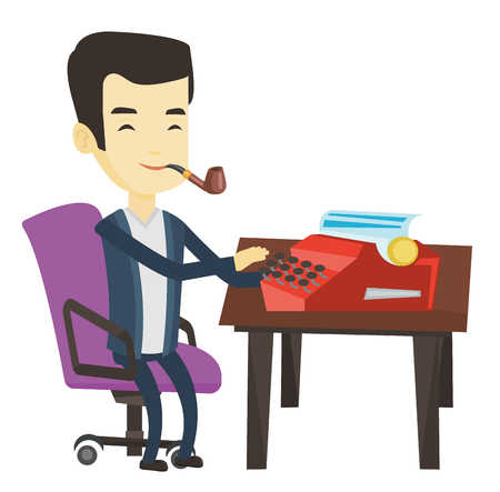 Young asian journalist writing an article on a vintage typewriter. Concentrated journalist working on retro typewriter and smoking pipe. Vector flat design illustration isolated on white background.