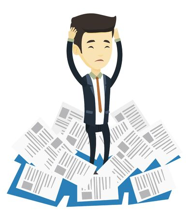 Asian business man surrounded by lots of papers. Overworked business man having a lot of paperwork. Man standing in the heap of papers. Vector flat design illustration isolated on white background.