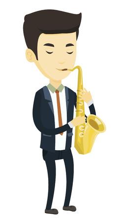 Asiatischer Mann mit Augen schloss das Spielen auf Saxophon. Erfreuter Musiker, der auf Saxophon spielt. Junger Musiker mit Saxophon. Vector die flache Designillustration, die auf weißem Hintergrund lokalisiert wird. Standard-Bild - 76011512
