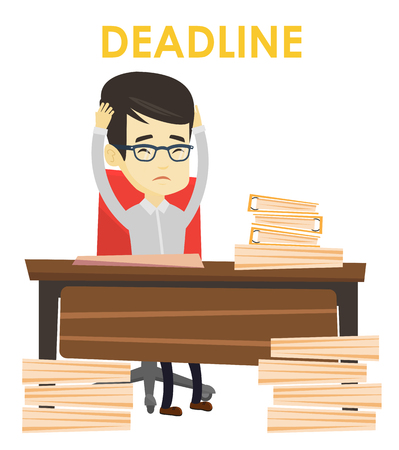 Asian business man having problem with deadline. Stressed business man sitting at workplace and clutching head because of missed deadline. Vector flat design illustration isolated on white background. Illustration