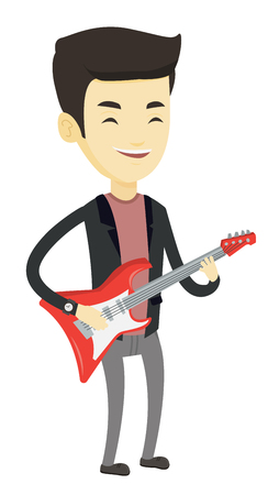Young asian musician playing electric guitar. Man practicing in playing guitar. Guitarist with his eyes closed playing music on guitar. Vector flat design illustration isolated on white background. Ilustração