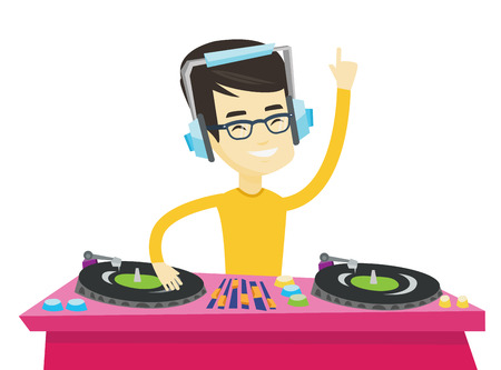 Asian DJ in headphones at the party in night club. Young DJ mixing music on turntables. DJ playing and mixing music on deck. Vector flat design illustration isolated on white background. Illusztráció