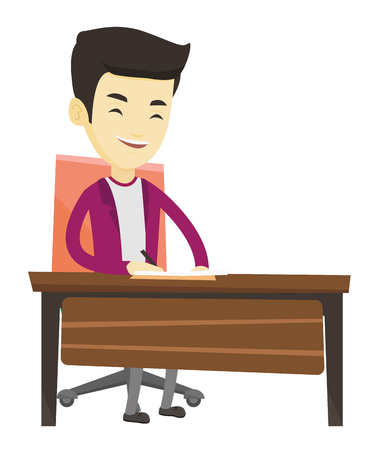 article writing: Asian journalist working at the table. Young journalist sitting at the table and writing notes in notebook. Journalist writing an article. Vector flat design illustration isolated on white background.